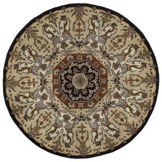 Hand-tufted Scarlett Medallion Black/ Beige Round Rug (7'9)