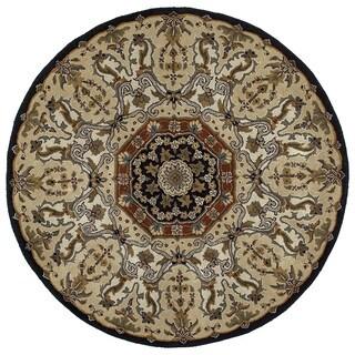 Hand-tufted Scarlett Medallion Black/ Beige Round Rug (9'9)