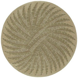 Hand-tufted Scarlett Green Palm Round Rug (3'9)