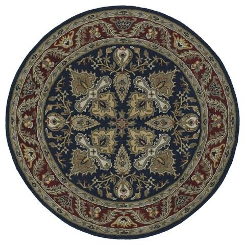 """Hand-tufted Scarlett 'Diamond' Navy/ Burgundy Round Wool Rug (11'9) - 11'9"""" Round"""