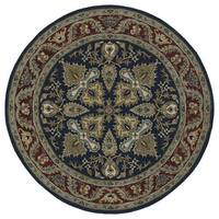 Hand-tufted Scarlett 'Diamond' Navy/ Burgundy Round Wool Rug (11'9)