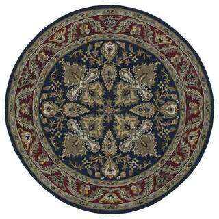 Hand-tufted Scarlett 'Diamond' Navy/ Burgundy Round Wool Rug (7'9)