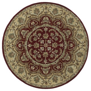 Hand-tufted Scarlett Burgundy Flower Round Wool Rug (7'9)