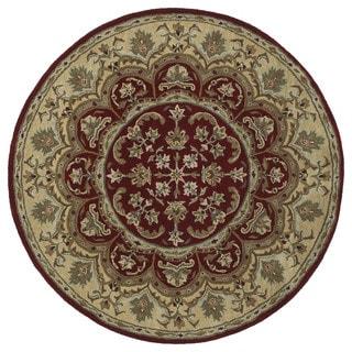 """Hand-tufted Scarlett Burgundy Flower Round Wool Rug - 9'9"""" Round"""