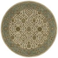 Hand-tufted Scarlett 'Morris' Beige/ Blueish Green Round Wool Rug (5'9)