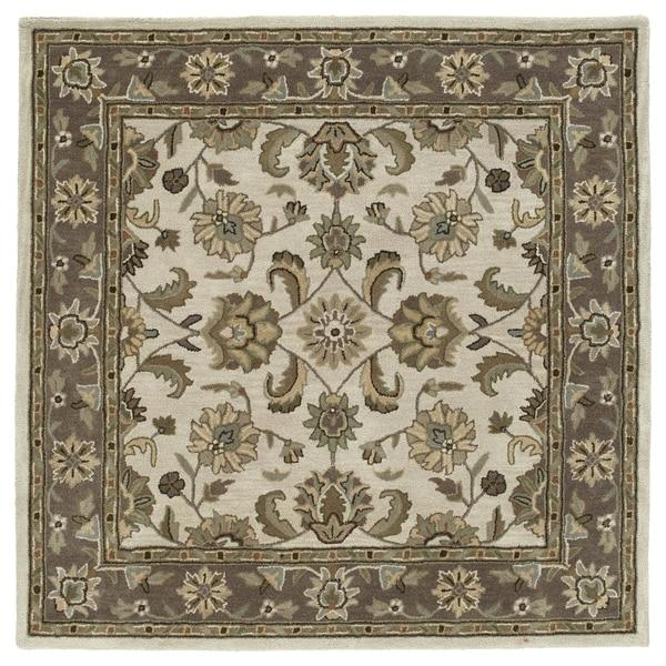 "Scarlett Beige Kashan Hand-Tufted Rug (5'9 x 5'9 Square) - 5'9"" Square"