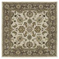 Scarlett Beige Kashan Hand-Tufted Rug (9'9 x 9'9 Square)