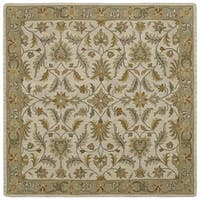 Hand-tufted Scarlett Beige/ Sage Green Wool Rug (7'9 x 7'9)