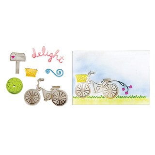 Sizzix Framelits Delightful Bicycle Set Die/ Textured Impressions (6 Pack)
