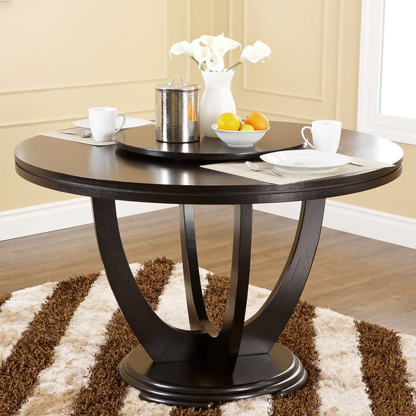 Abbyson Living Calvin Round With Lazy Susan Dining Table