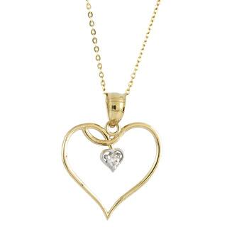 14k Two-tone Gold Fashionable Cubic Zirconia Vine Double Heart Charm Necklace (Option: Plus Size)|https://ak1.ostkcdn.com/images/products/8712458/14k-Two-tone-Gold-Fashionable-Cubic-Zirconia-Vine-Double-Heart-Charm-Necklace-P15961707.jpg?impolicy=medium