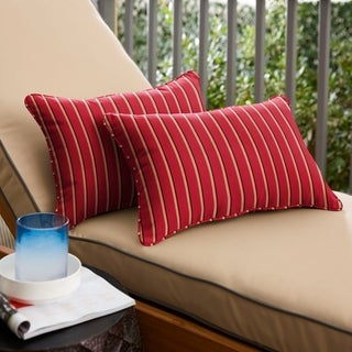 Sunbrella Red/ Gold Indoor/ Outdoor 12 x 24-inch Lumbar Pillows (Set of 2)