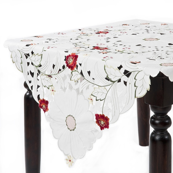 Embroidered And Cutwork 84 Inch Square Tablecloth