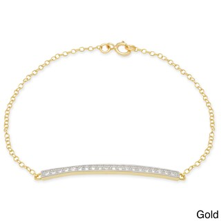 Dolce Giavonna Sterling Silver Gold over Silver Round-cut Cubic Zirconia Bracelet (3 options available)