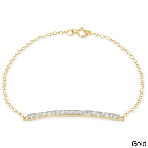 Dolce Giavonna Sterling Silver Gold over Silver Round-cut Cubic Zirconia Bracelet
