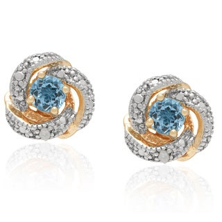 Dolce Giavonna Gold Over Silver Round-cut Diamond Accent Blue Topaz Stud Earrings