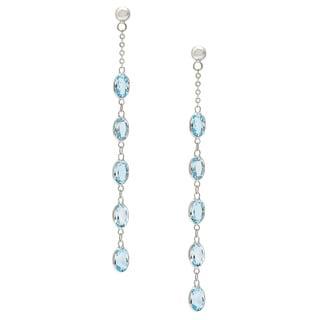 14k White Gold Blue Topaz Push Back Dangle Earrings