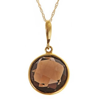 14k Yellow Gold Round-cut Smokey Quartz Pendant Necklace