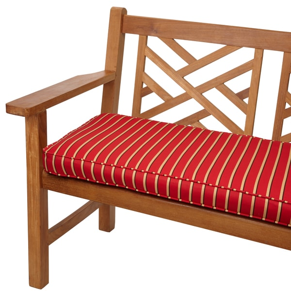 shop sunbrella red gold stripe indoor outdoor 48 x 19 inch corded bench free shipping today. Black Bedroom Furniture Sets. Home Design Ideas
