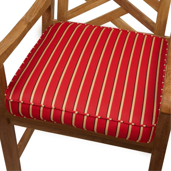 red gold stripe indoor outdoor 20inch chair cushion with sunbrella fabric - Sunbrella Fabric