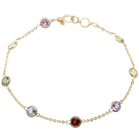 10k Yellow Gold Multi-gemstone Link Bracelet