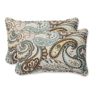 Pillow Perfect 'Tamara Paisley Quartz' Rectangular Outdoor Throw Pillow (Set of 2)