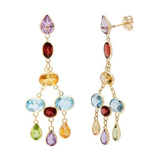 14k Yellow Gold Bezel-set Multi-gemstone Earrings