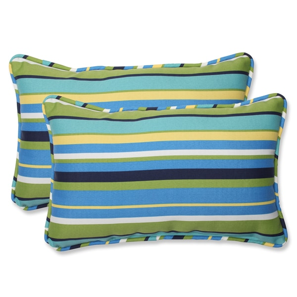 Pillow Perfect 'Topanga Stripe Lagoon' Rectangular Outdoor Throw Pillow (Set of 2)