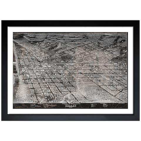 Oliver Gal 'Map of Dallas in 1872' Framed Art