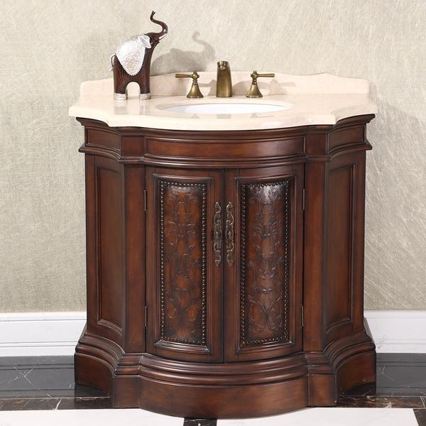 natural stone top 38 inch single sink vintage style bathroom vanity