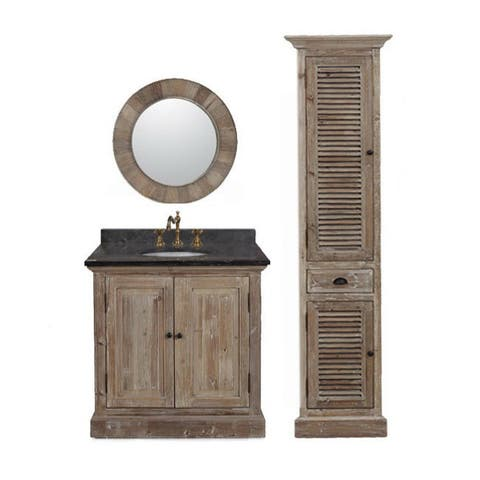 LimestoneTop 37-inch Single Sink Rustic Style Bathroom Vanity with Matching Wall Mirror, and Linen Tower