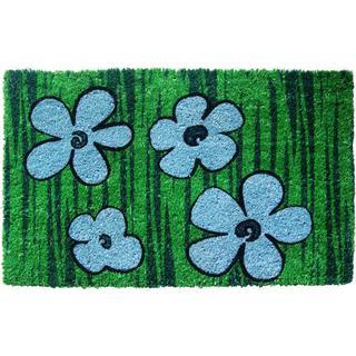 Blue/ Green Floral Non-slip Coir Doormat (1'5 x 2'4)