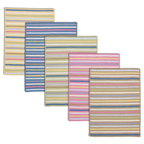 Quinn Multicolor Stripe Braided Reversible Rug USA MADE - 8' x 10'