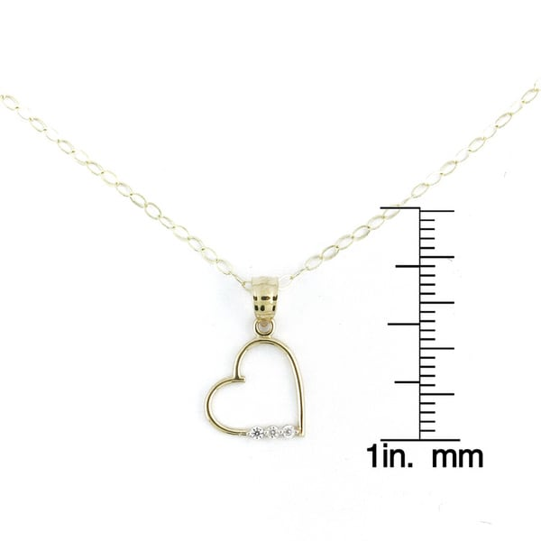 14K Yellow Gold Mom Heart CZ Charm Pendant For Necklace or Chain Ioka