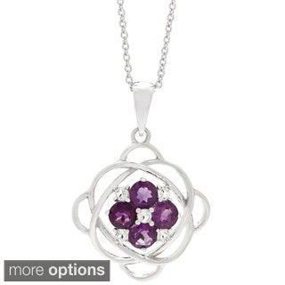Gemstone Cubic Zirconia Flower Web Pendant