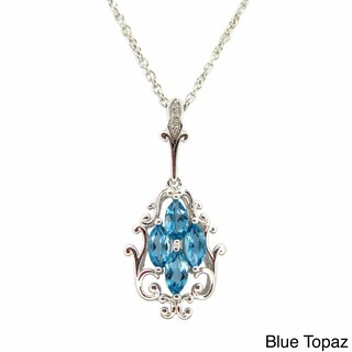 Marquise Gemstone Cubic Zirconia Flower Pendant Necklace