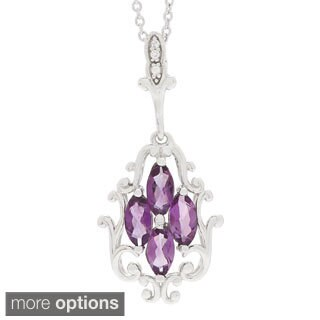 Marquise Gemstone Cubic Zirconia Flower Pendant Necklace