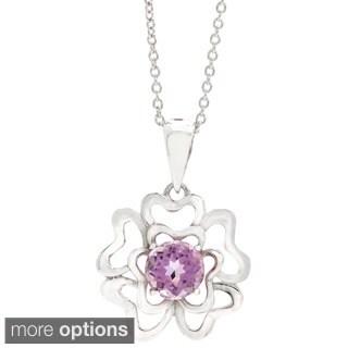 Round-cut Gemstone Clover Pendant Necklace