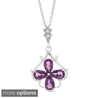 Pear-cut Gemstone Cubic Zirconia Flower Pendant Necklace