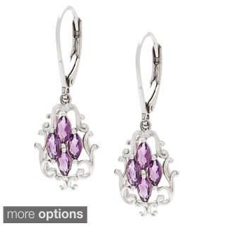 Marquise Gemstone Dangle Leverback Earrings