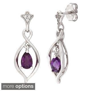 Sterling Silver Pear-cut Gemstone Cubic Zirconia Dangle Earrings