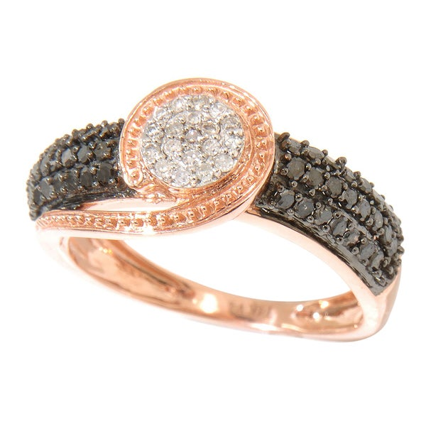 14k Rose Gold 1/2ct TDW Black/ White Diamond Ring