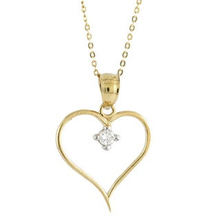 14k Yellow Gold Cubic Zirconia Large Open Heart Charm Necklace