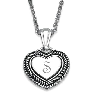 Silver Plated Initial Double Rope Framed Heart Necklace