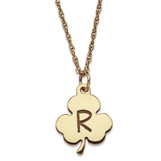 10k Yellow Gold Engraved Initial Clover Necklace
