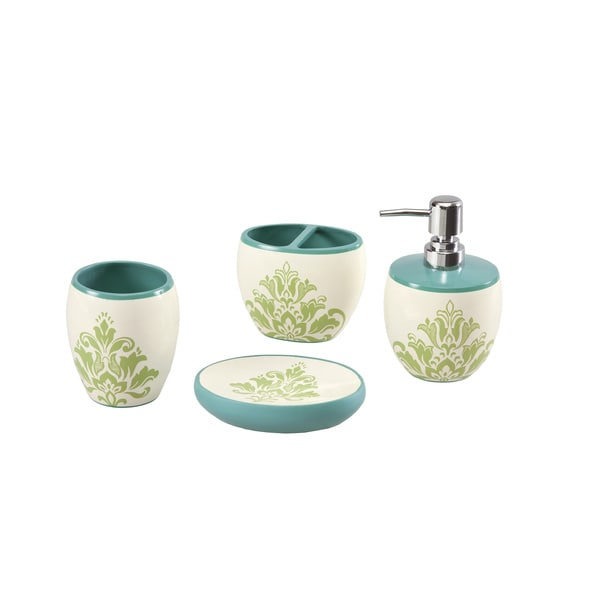 Mi zone paige teal bath accessory 4 piece set free for Teal bathroom set