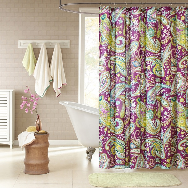 Intelligent design kayla purple paisley shower curtain - Intelligent shower ...