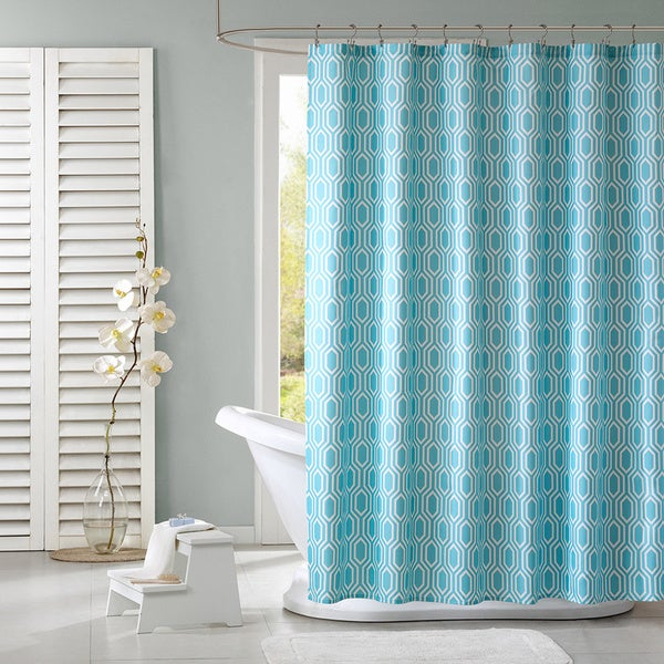 Intelligent design lexie modern geometric shower curtain - Intelligent shower ...