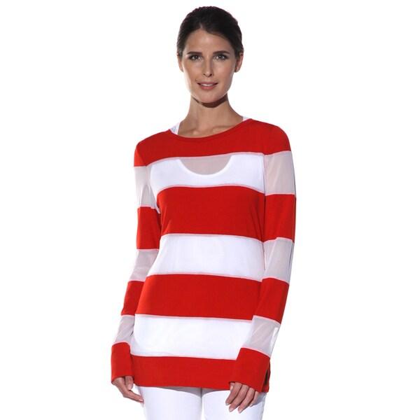 Women's 'Monte Carlo' Red/ White Nautical Striped Top