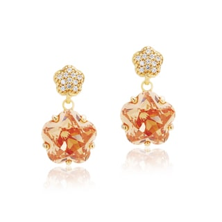 Blue Box Jewels Goldplated 925 Sterling Silver Premium Eq Star CZ Champagne Stone Floral Dangle Earrings